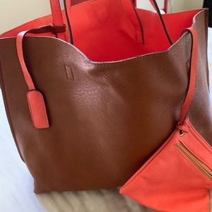 Street Level Reversible Leather Tote